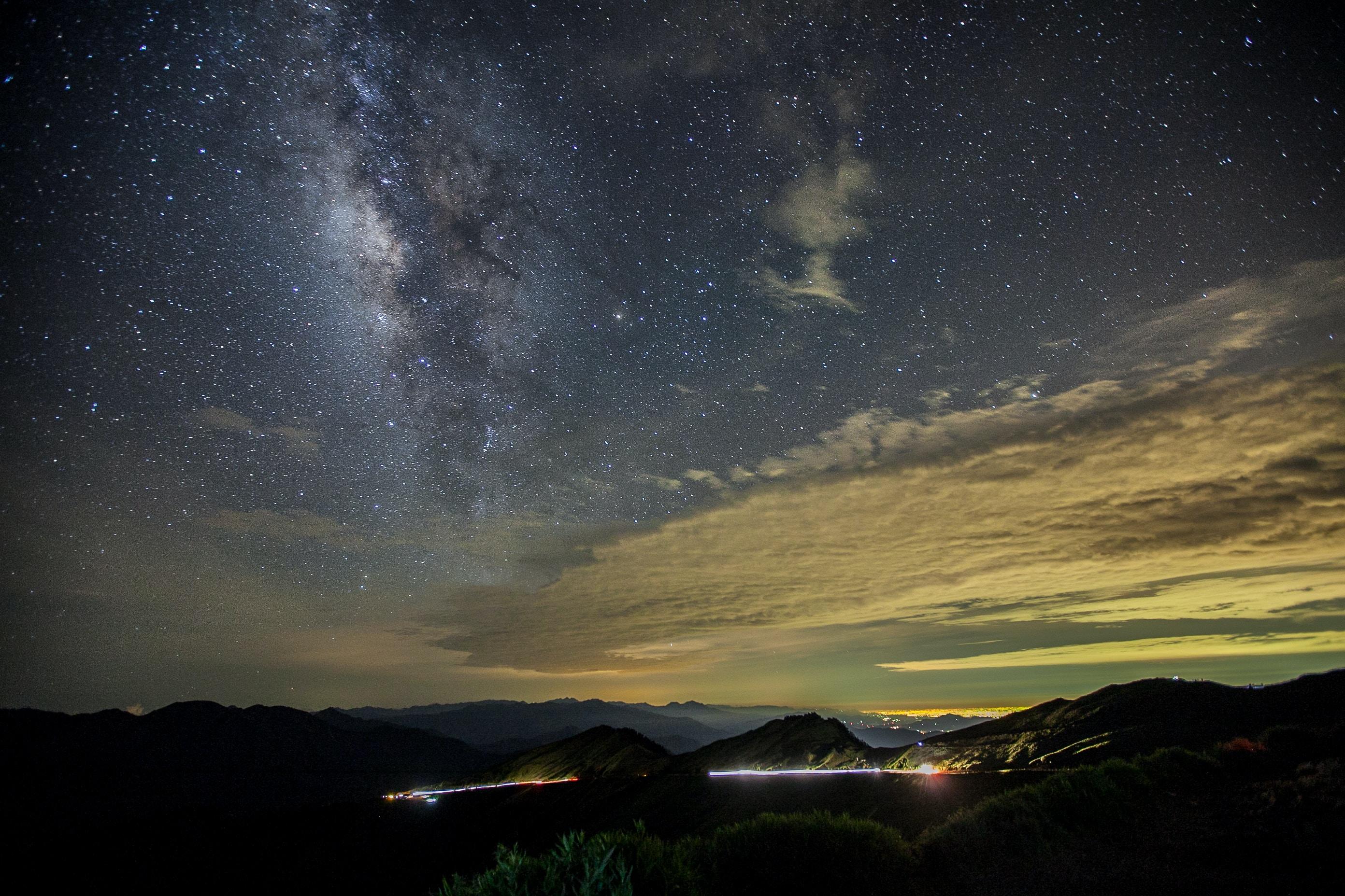 mountain range under Milky Way galaxy