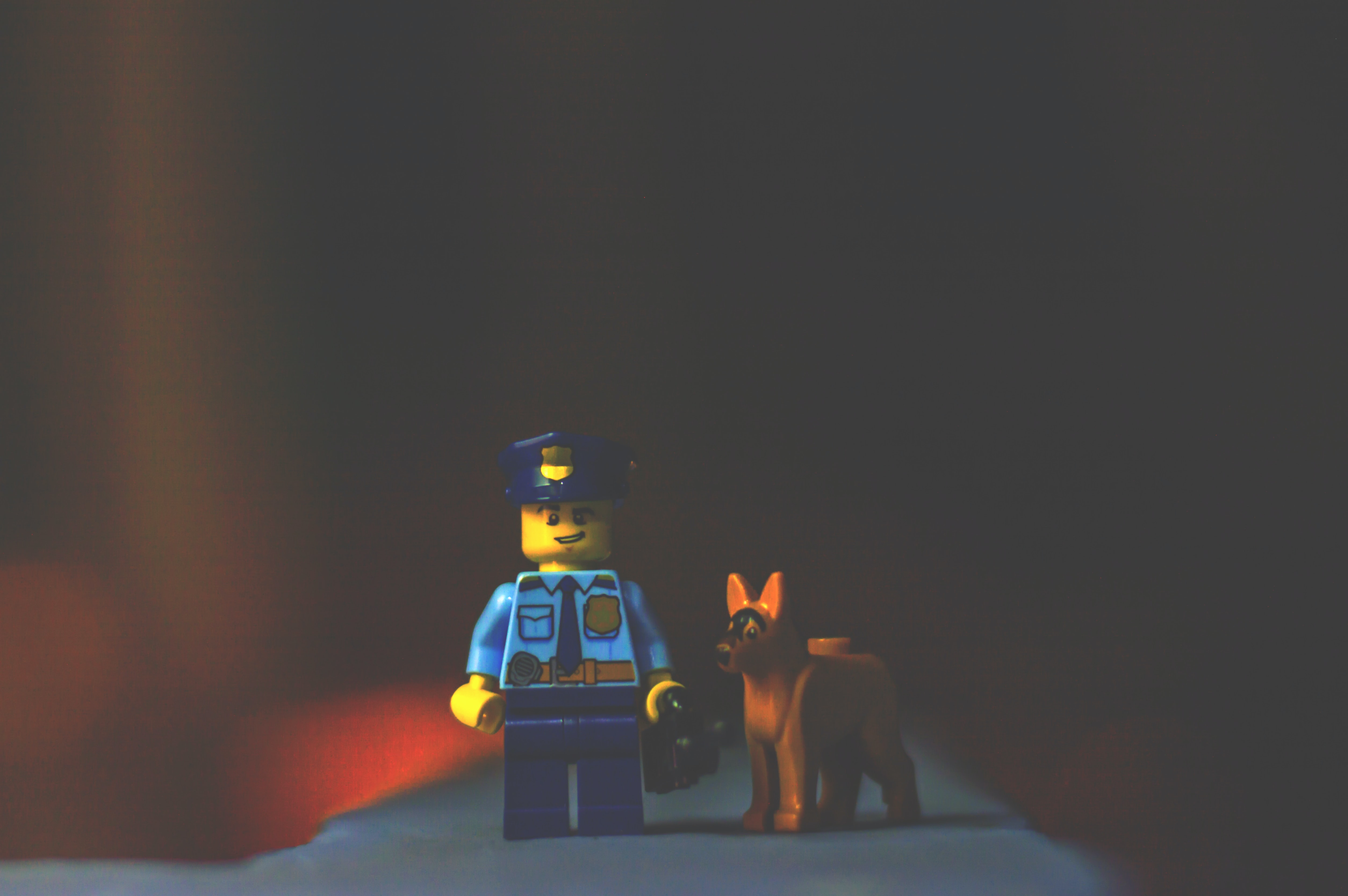 A Lego police officer guy and his police dog.