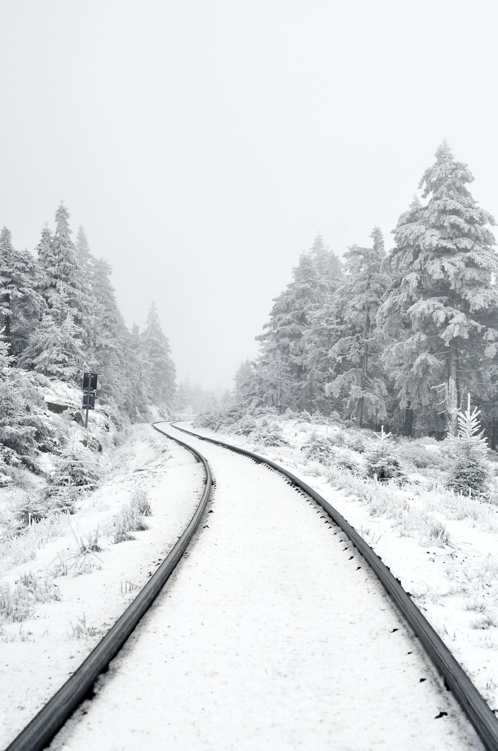 railway covered by snow