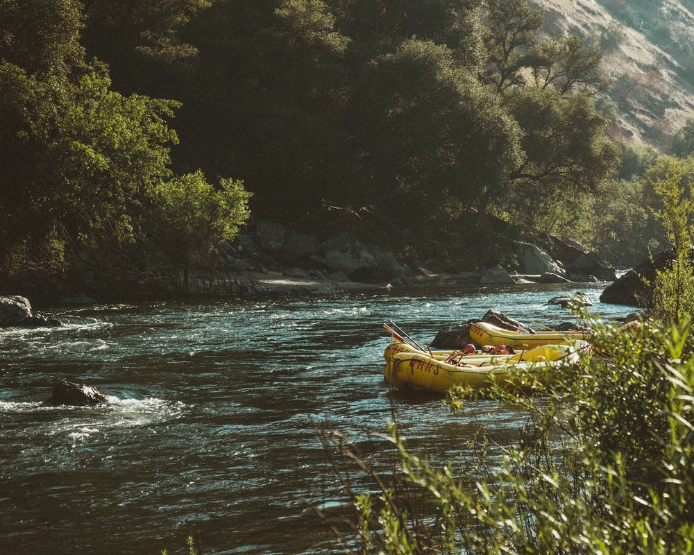 two yellow inflatable boats beside river at daytime