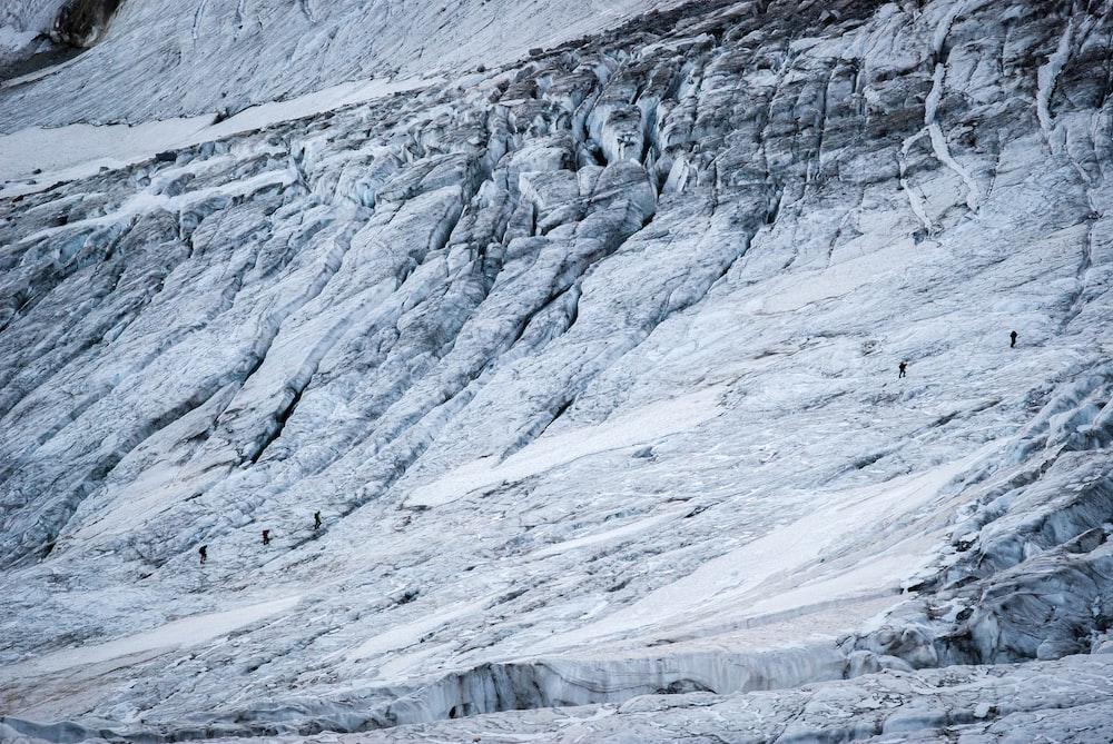 people walking on mountain during snow