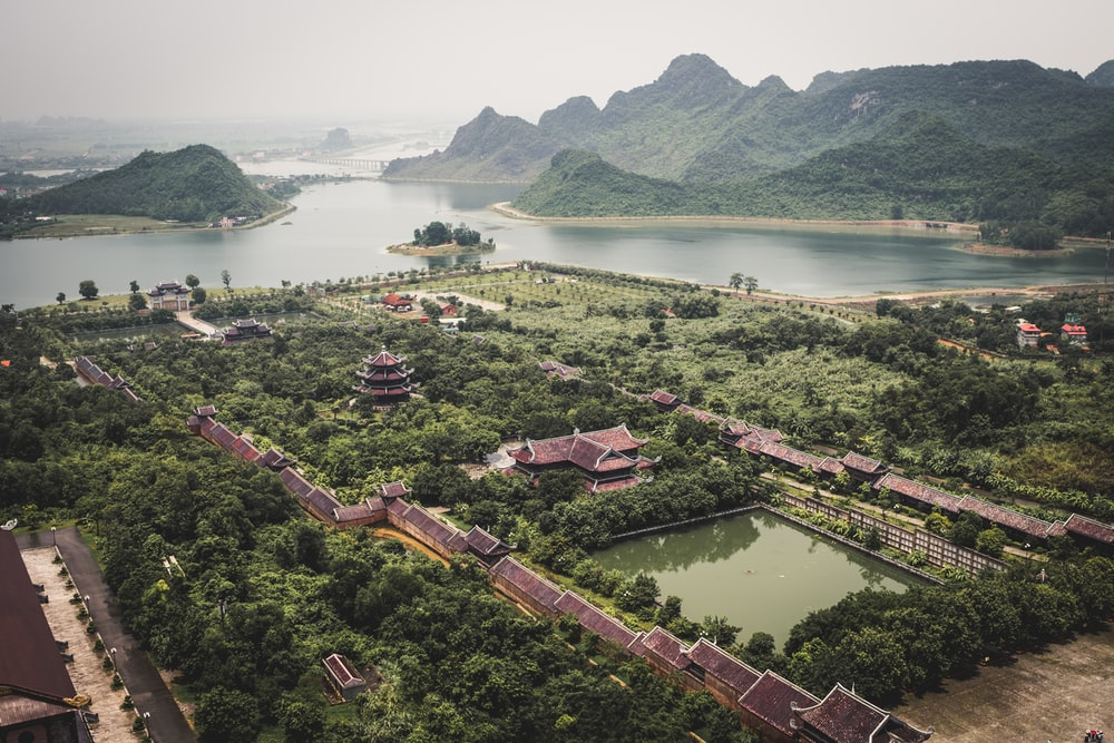aerial view photography of brown pagoda temple during daytime