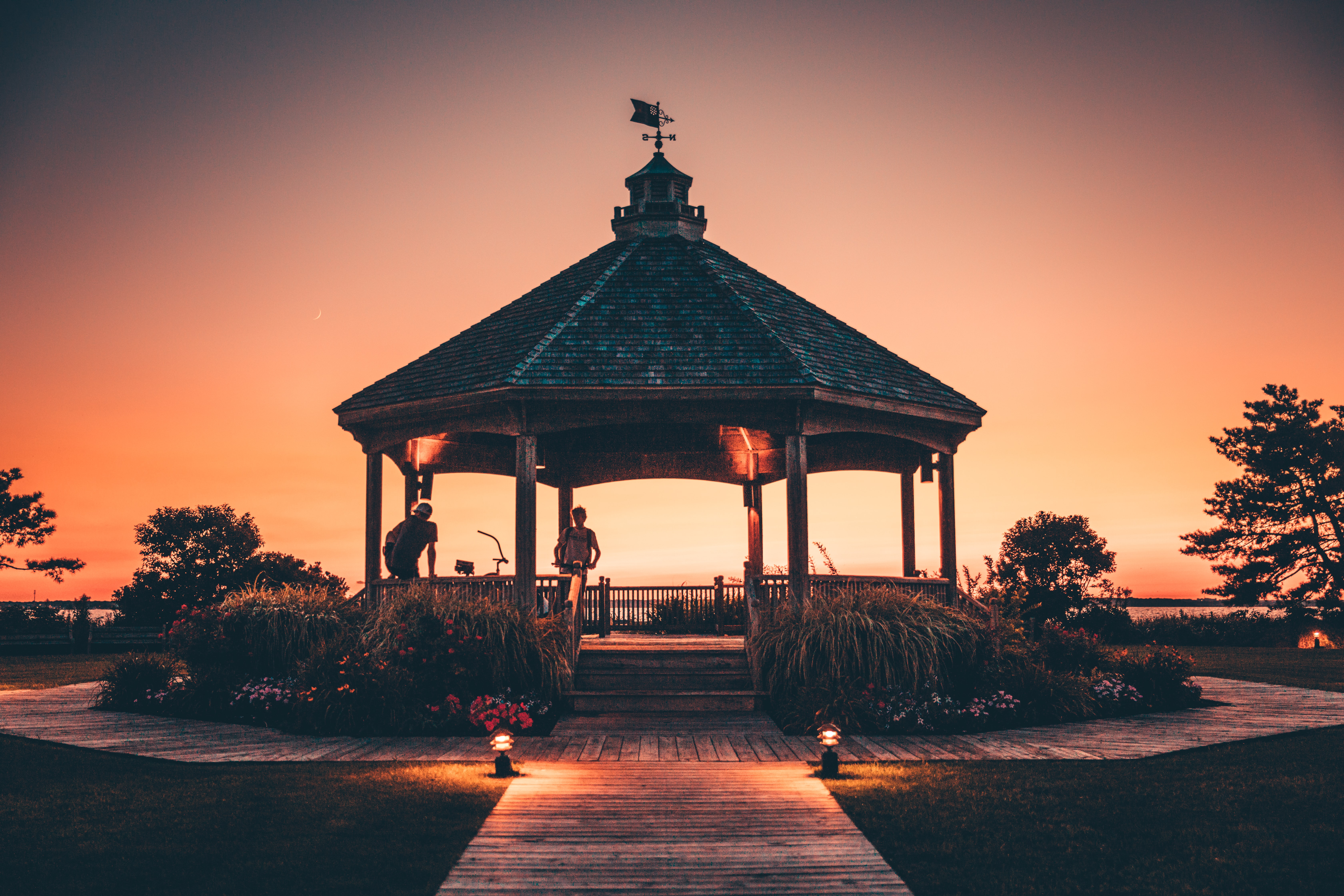 band stand at the field during sunset