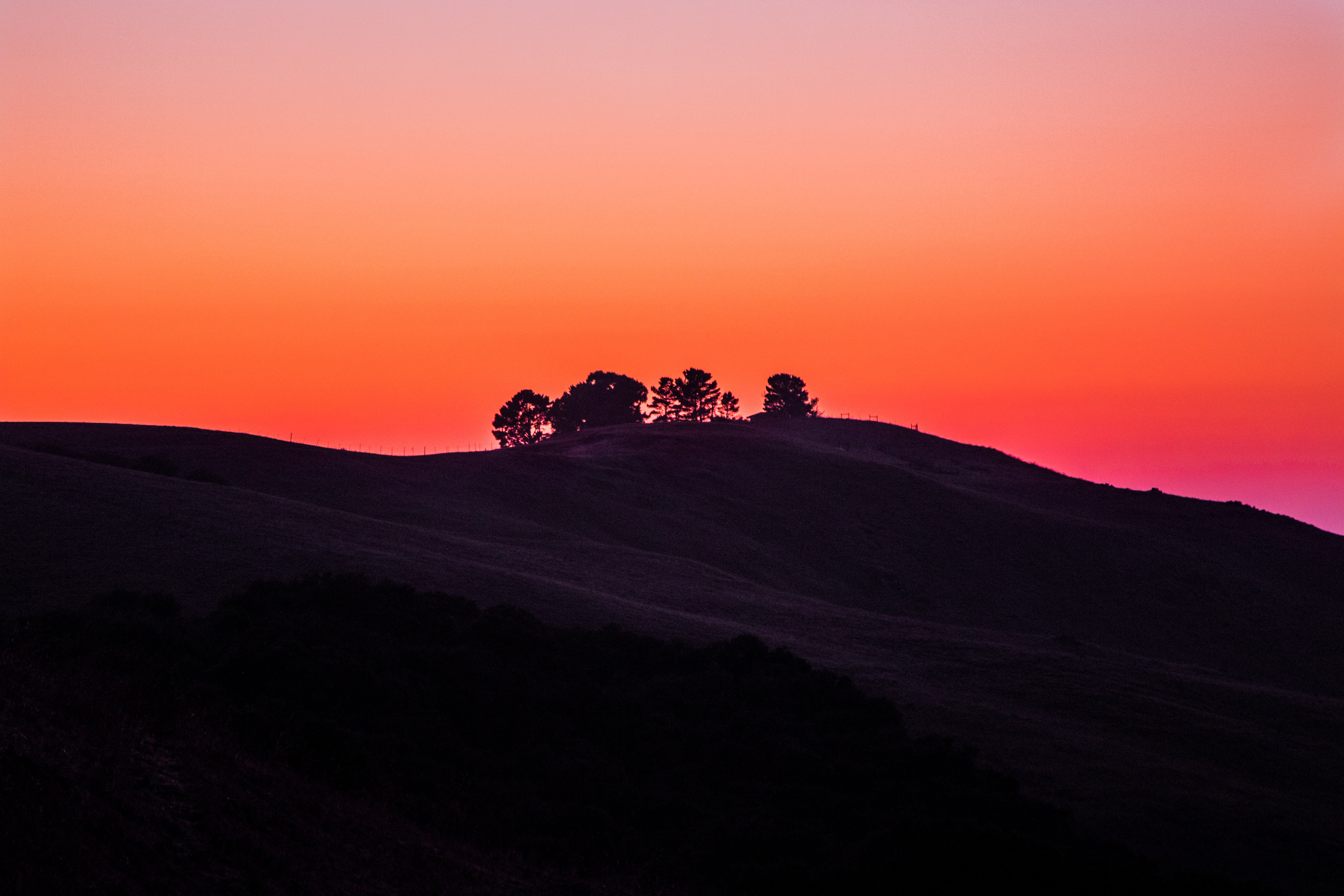 Colorful orange sky creates silhouettes at sunset