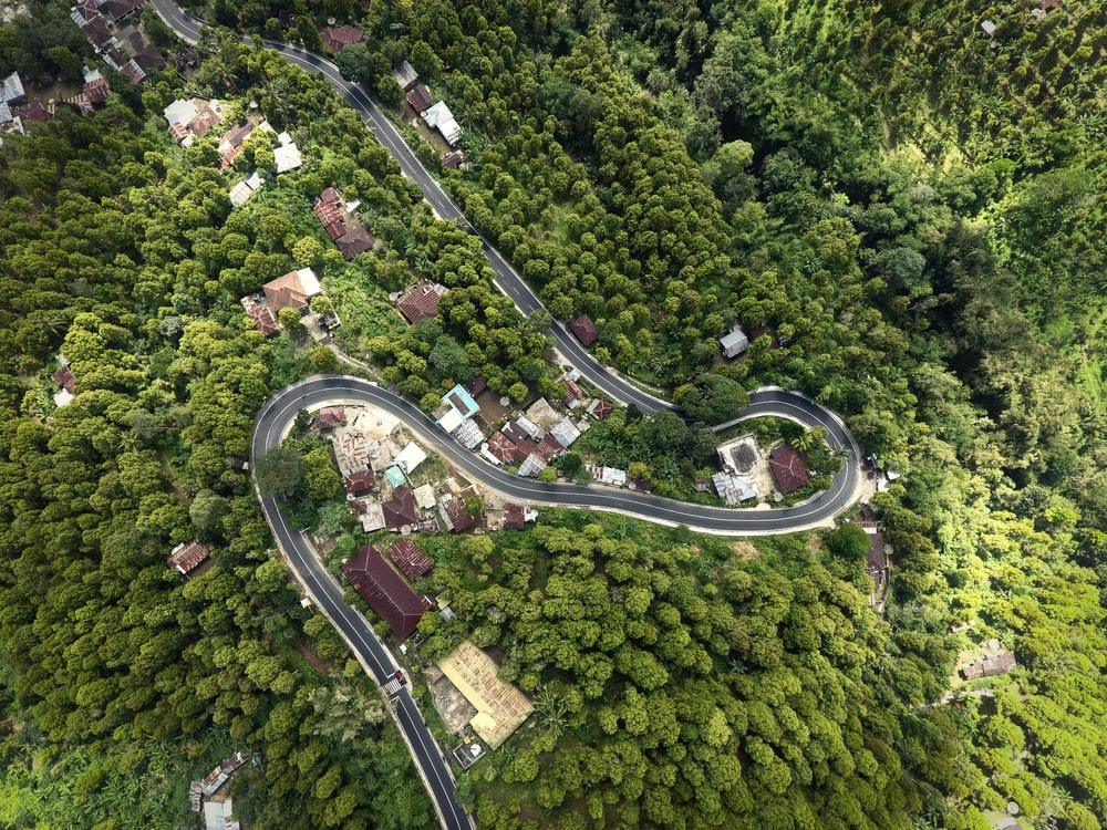 aerial view photography of asphalt road