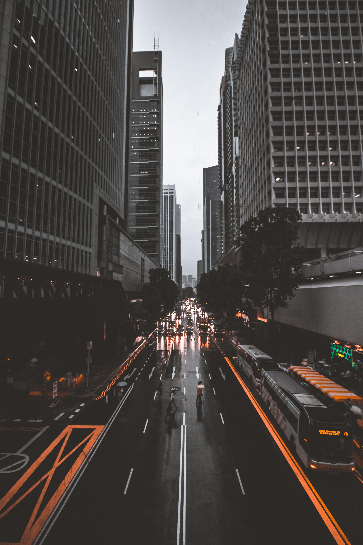 people crossing road between high-rise buildings