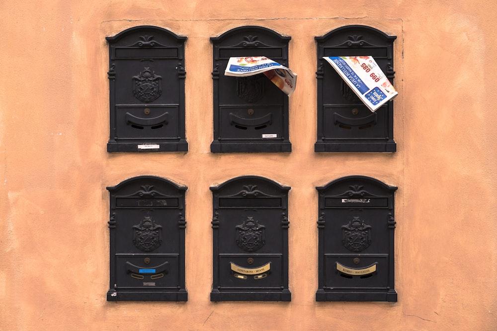 six black wooden frames