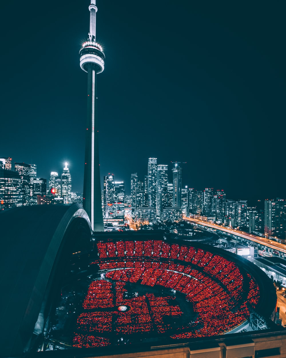 CN Tower at nighttime