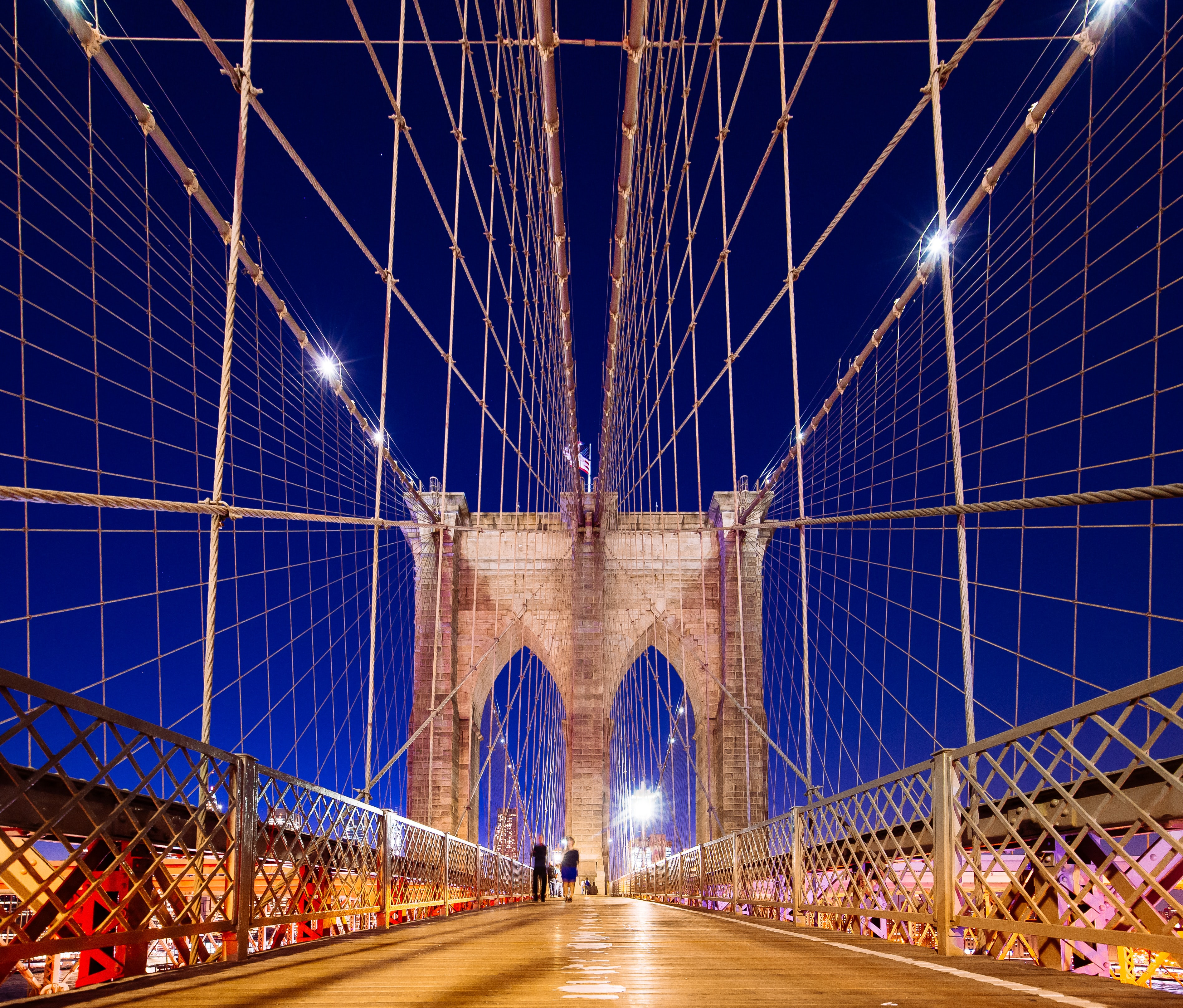 Brooklyn Bridge under blue sky