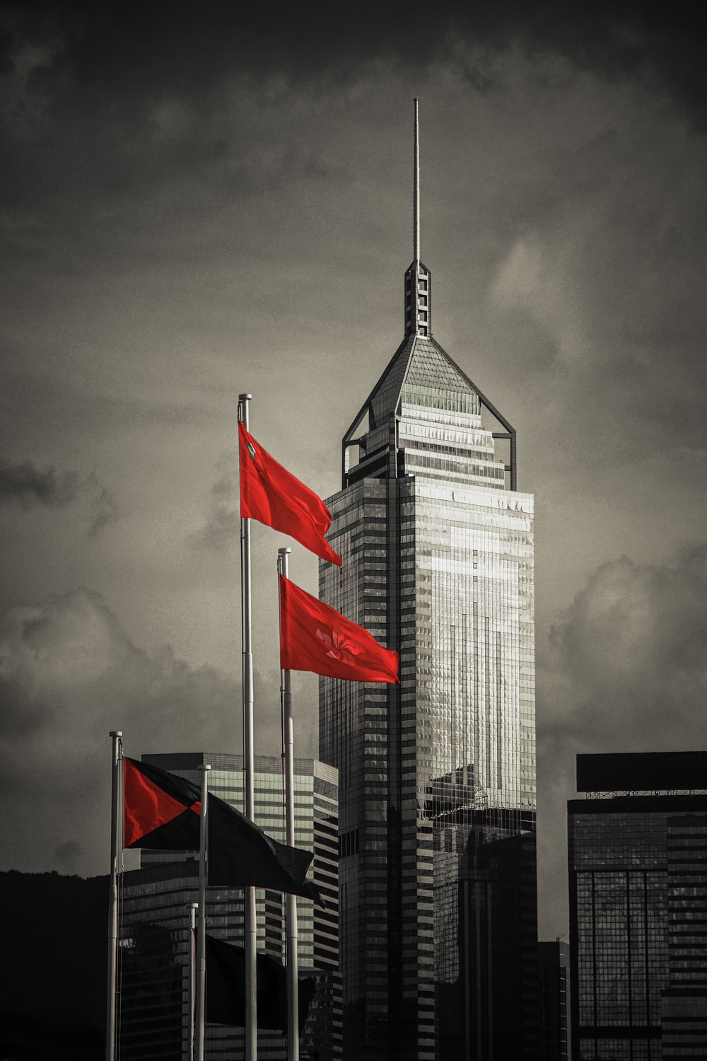 Singapore flag selective color photography