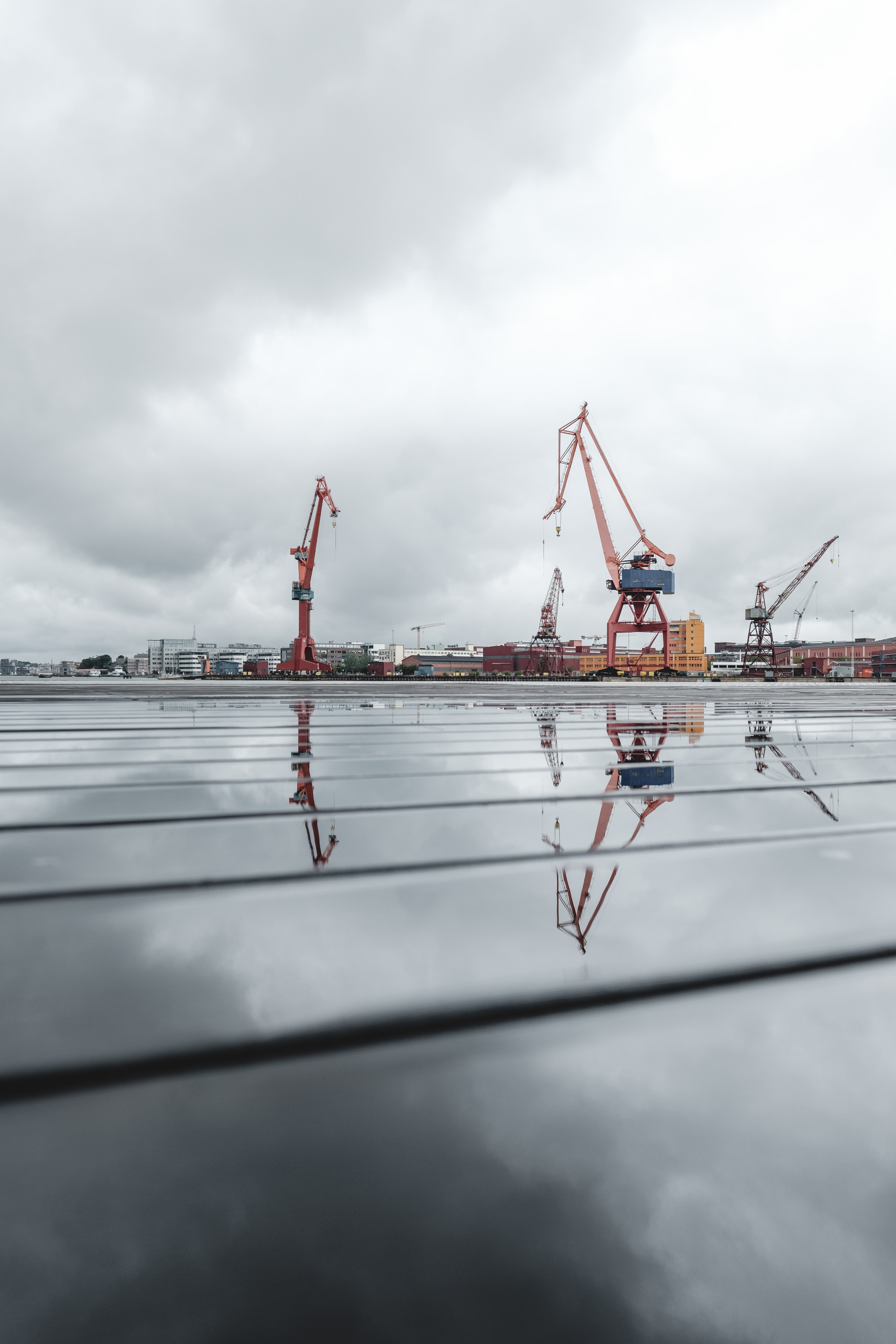 low-angle of cranes at seaport