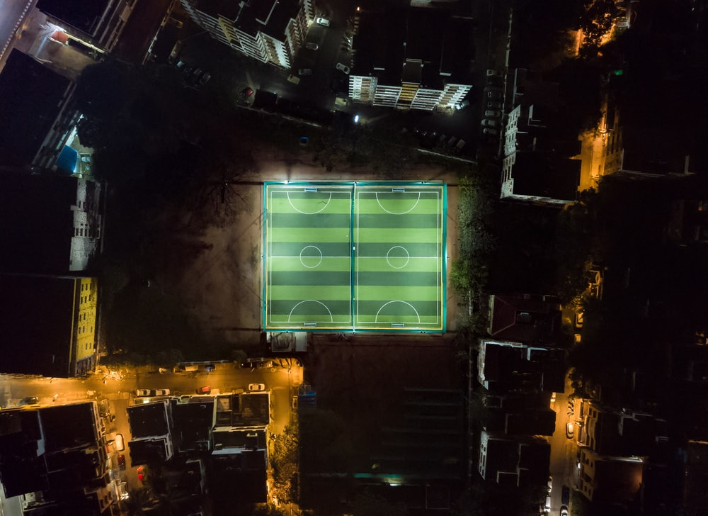 high angle photo of soccer field