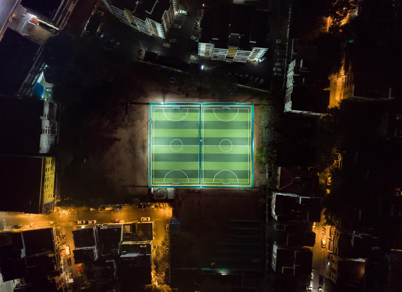 high angle photo of soccer field