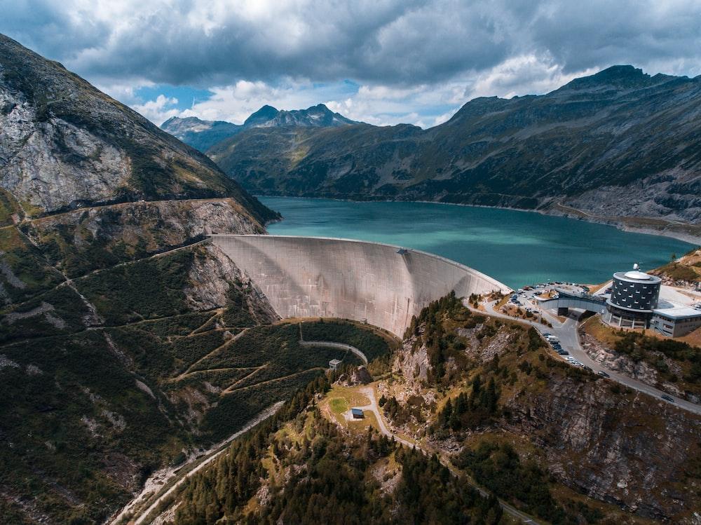 bird's-eye view photography of water dam