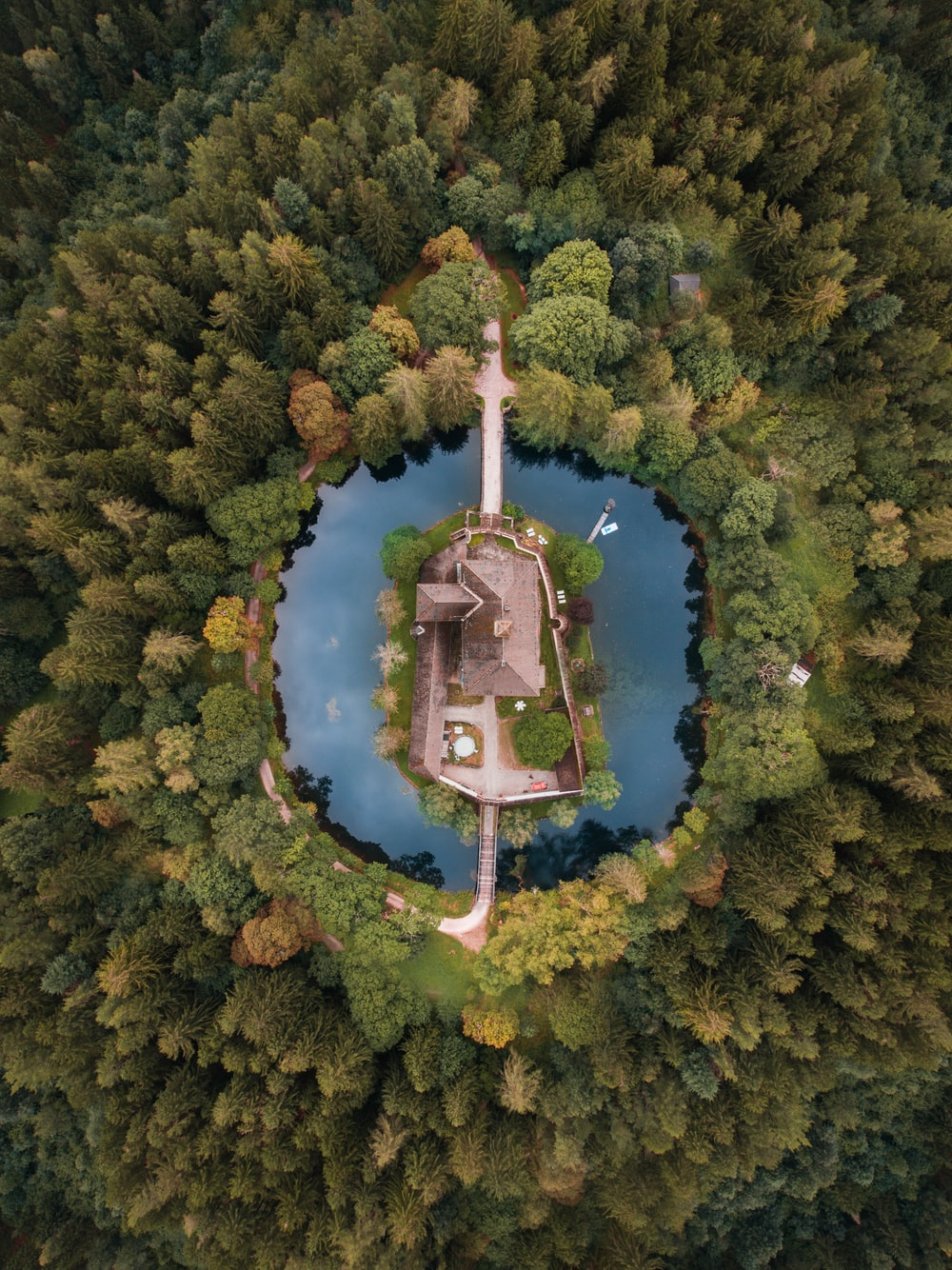 aerial photography of building surrounded with body of water and trees during daytime