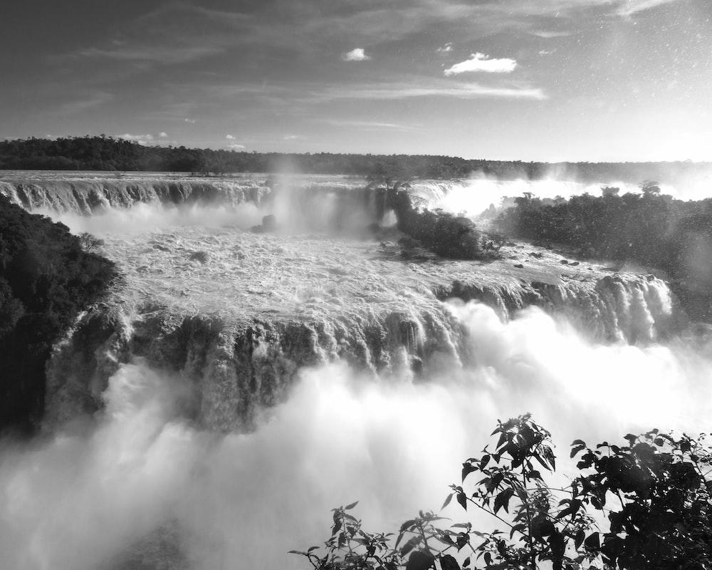 waterfalls grayscale photo