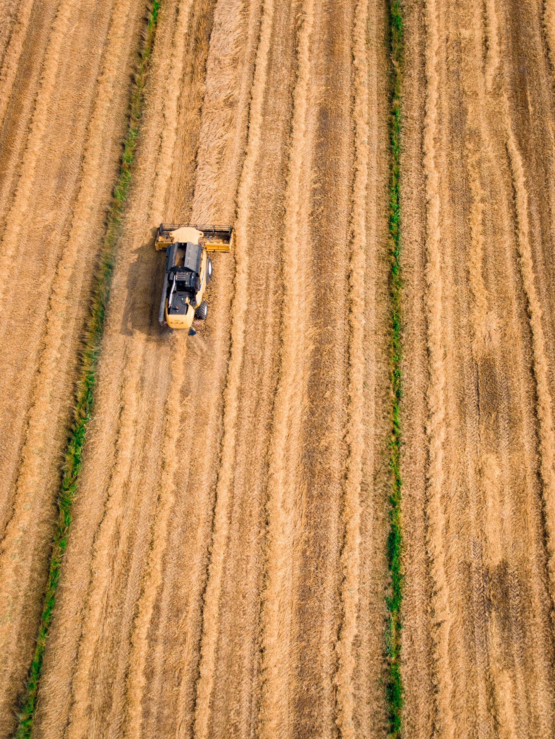 A drone shot of a harvester in a field