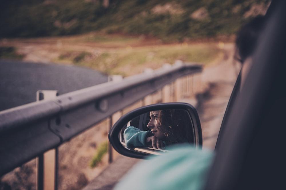 woman riding in car