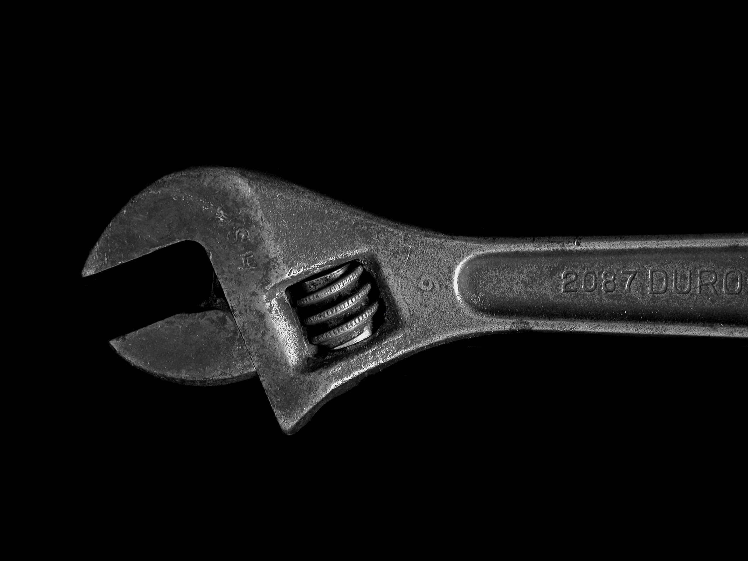 gray metal adjustable wrench
