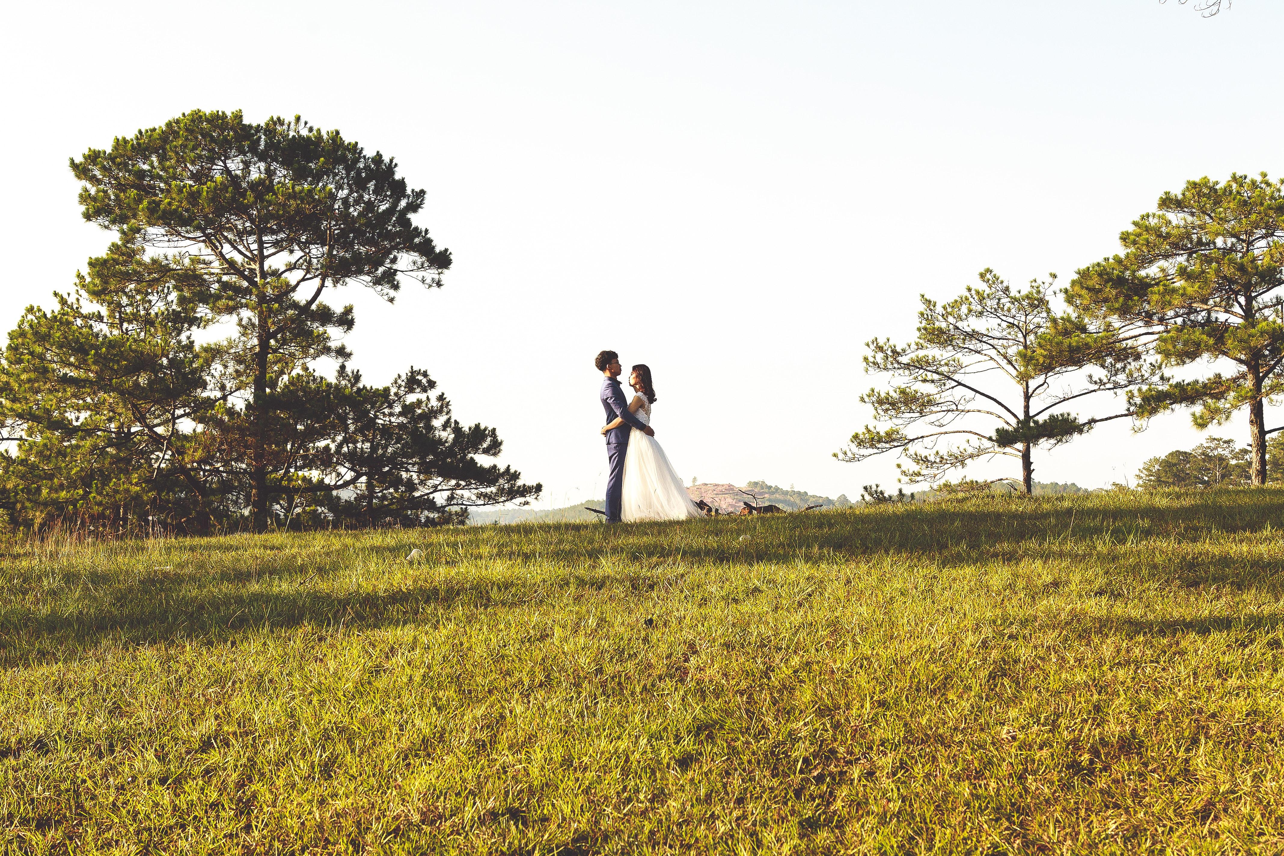 groom and bride near tree
