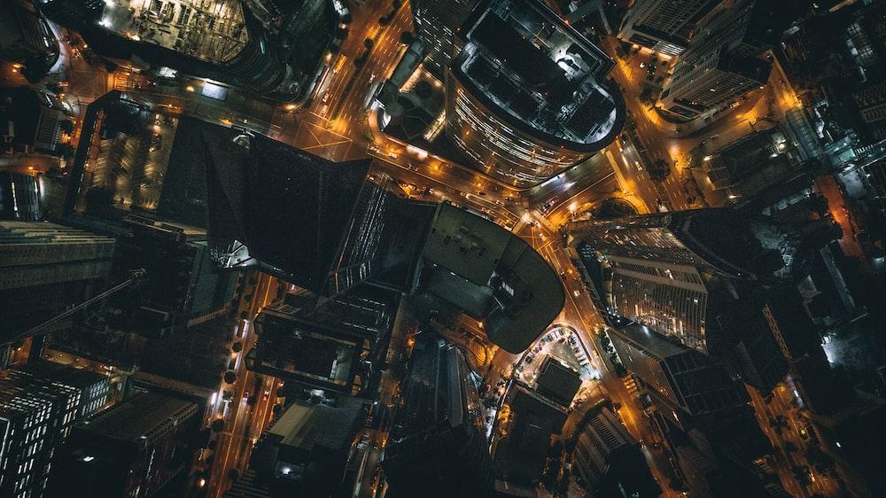 bird's eye view photo of city at night