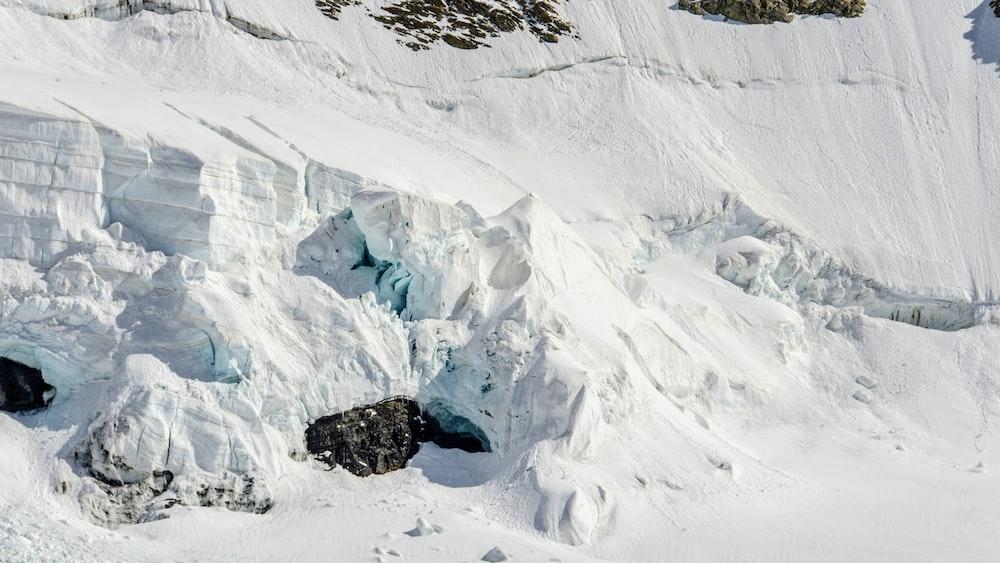 snowcap mountain at daytime