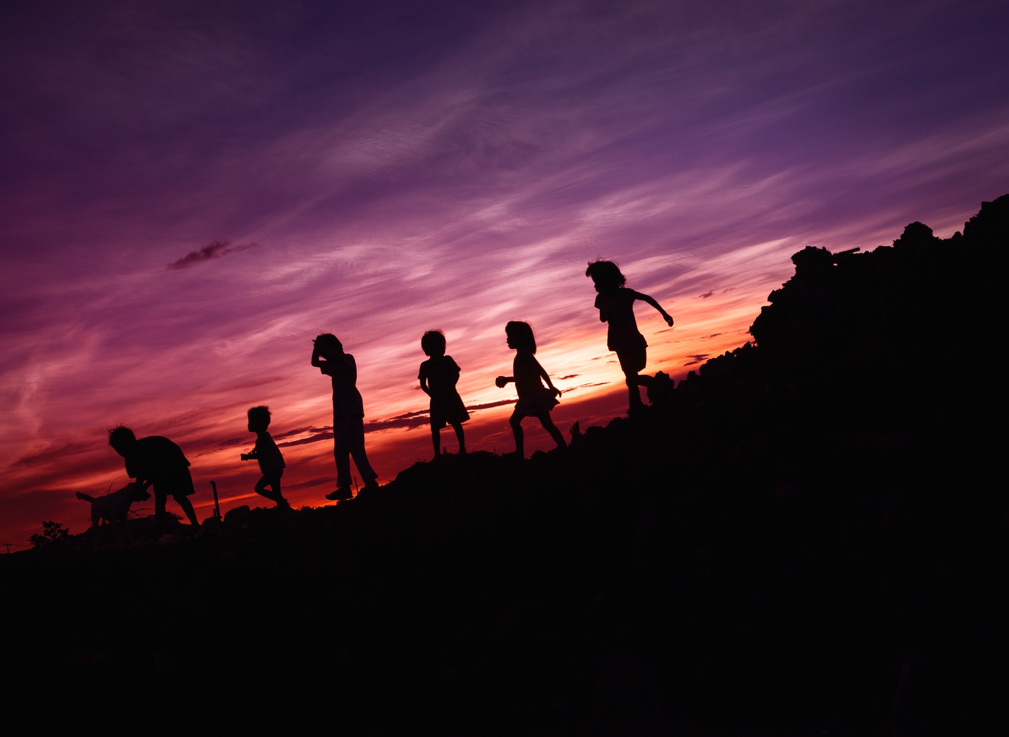 Kids playing with their dog during sunset.
