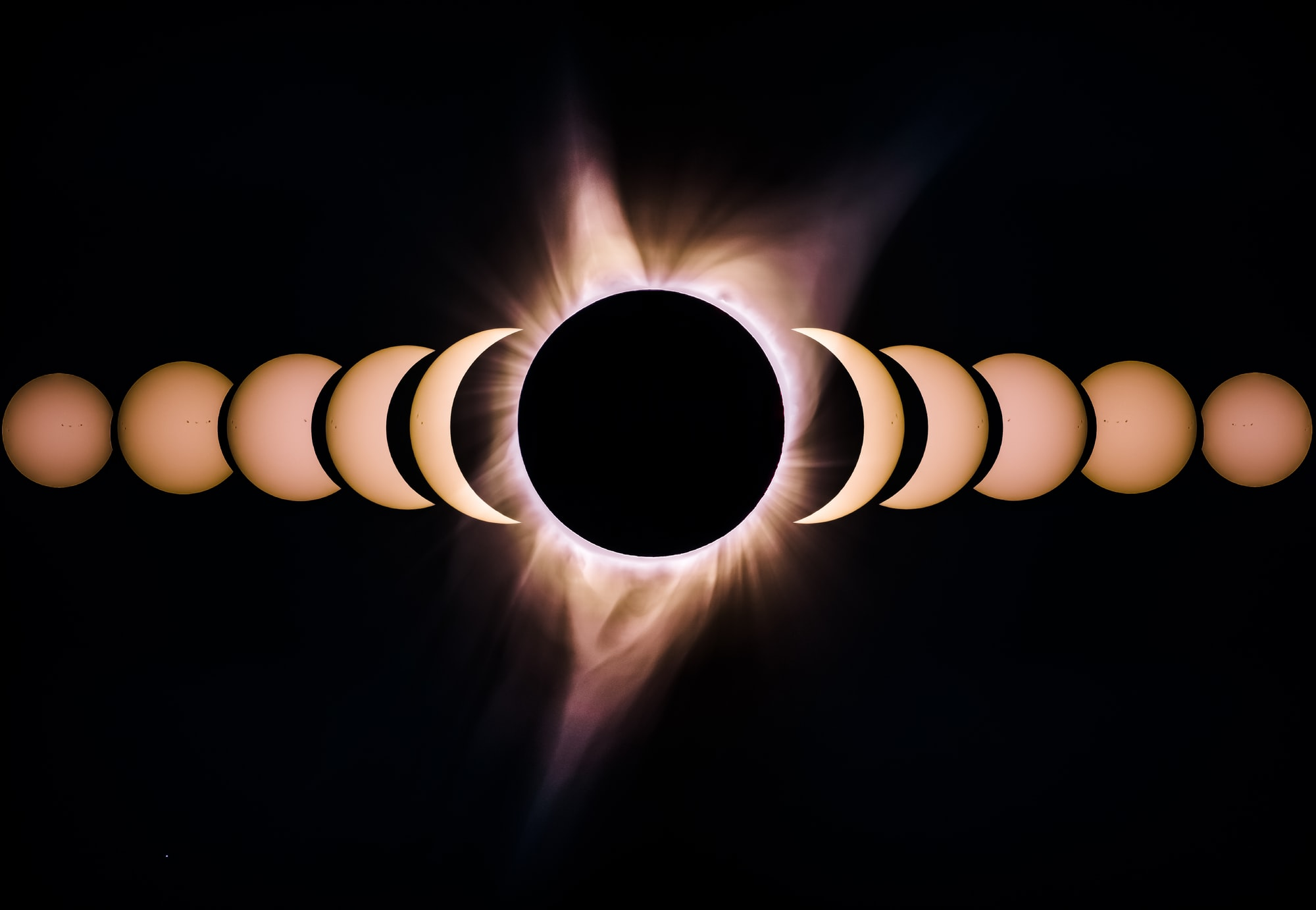 This is a composition I made during the eclipse. It shows the beginning of the eclipse all the way to totality in the center. Each photo was taken about 10 minutes apart. I took these photos at Crooked River Ranch in Oregon. I just happened to find this spot on Google maps. I am very pleased with the outcome. I'm on IG @bryangoffphoto Stop by and say hi!