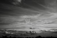 grayscale photo of fighter jets