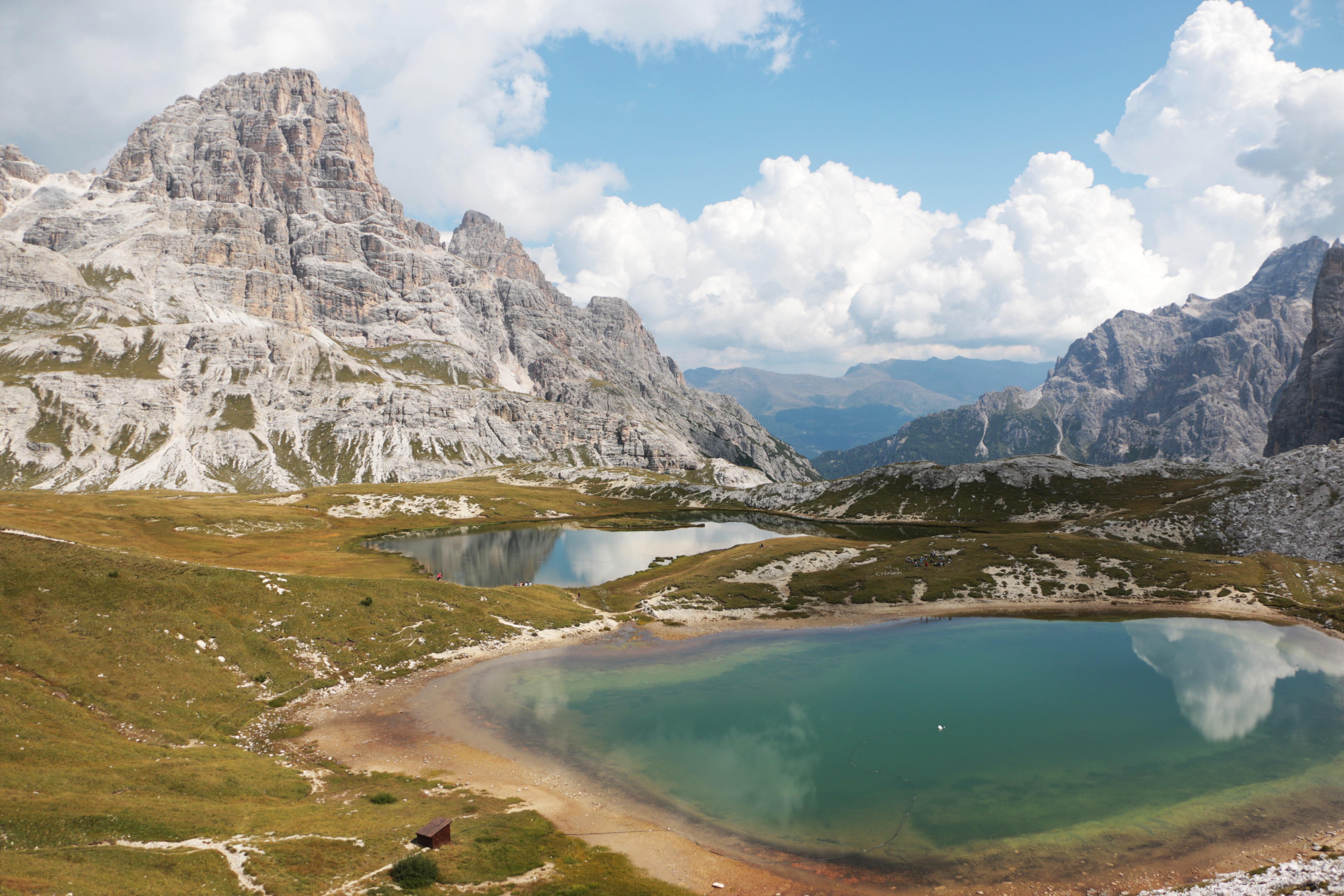 Calm oasis amidst a rocky mountain landscape