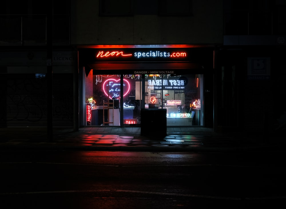 Neon specialist. com store front during night time