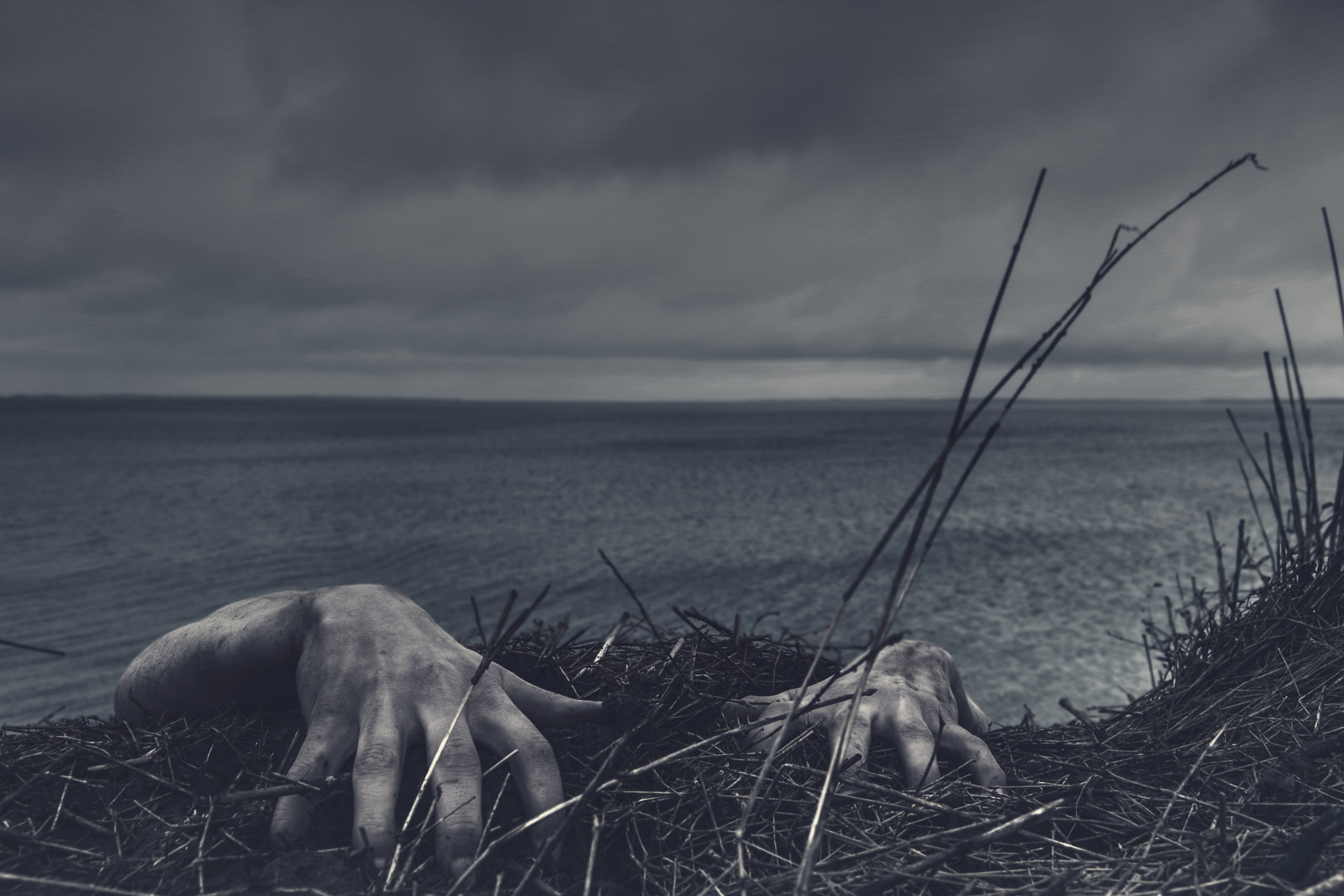 Hands reaching onto the edge of a field where it drops off into the ocean.
