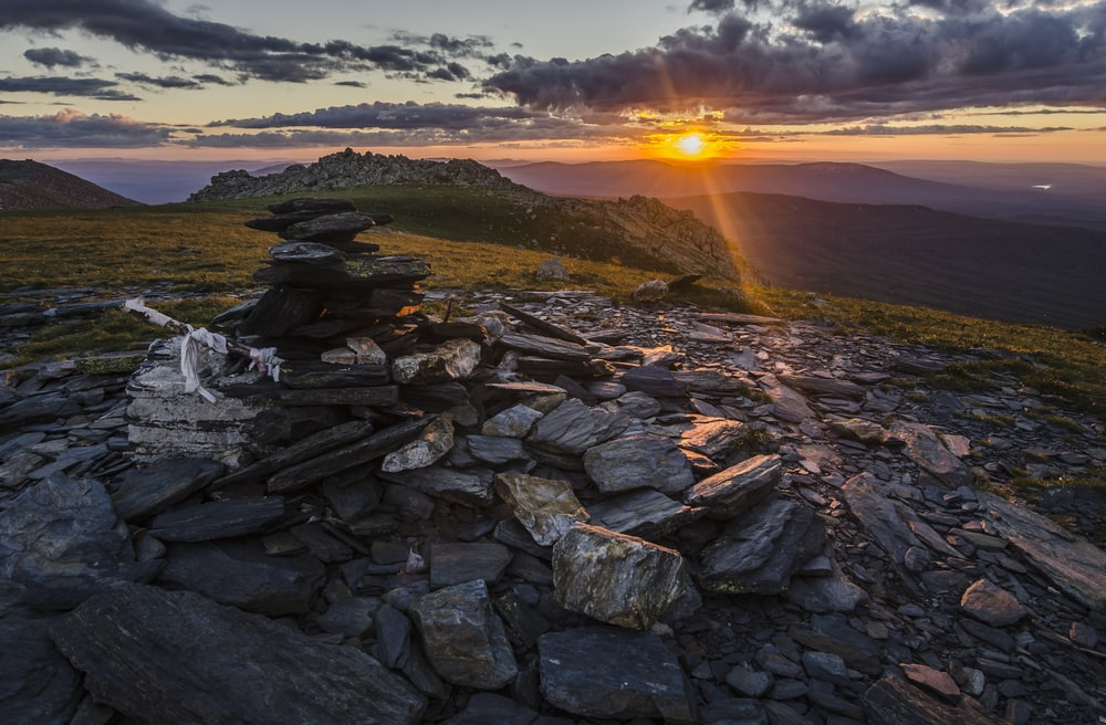 closeup photo of rocks during golden hour