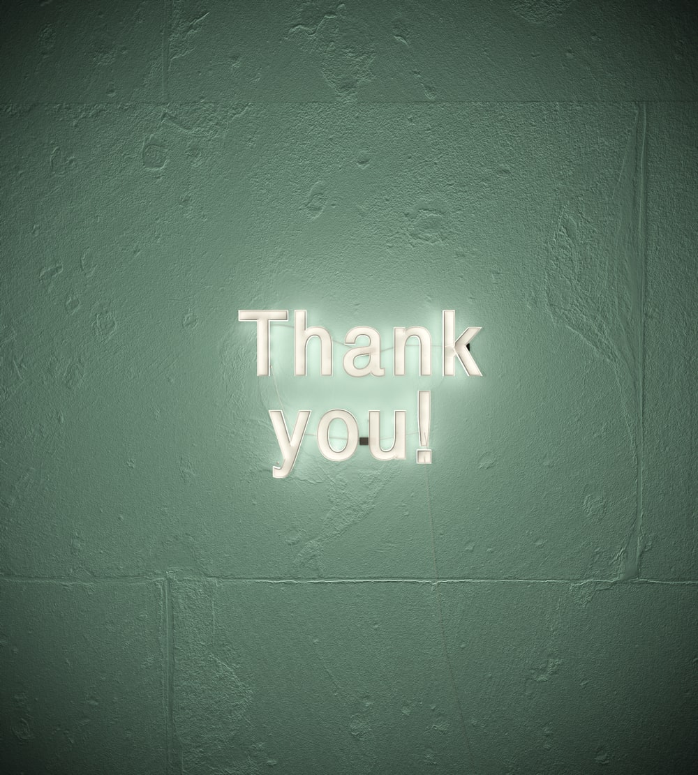 thank you! text