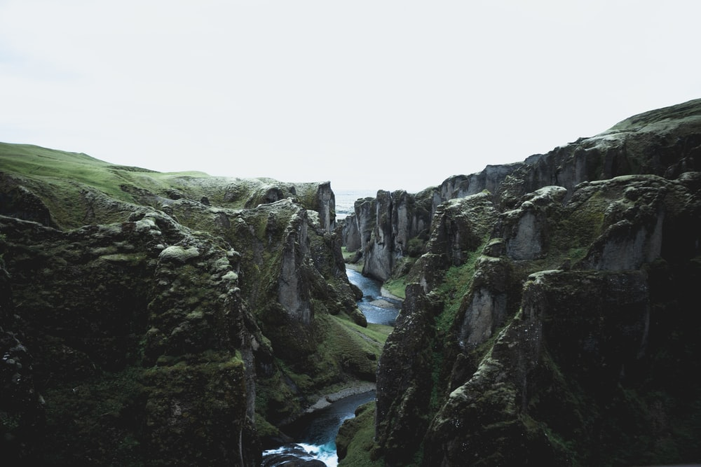 river flowing between two land forms