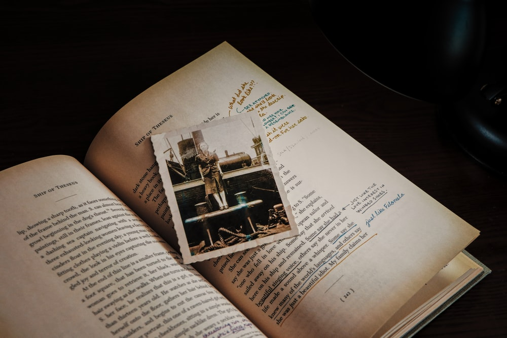 photo on open book
