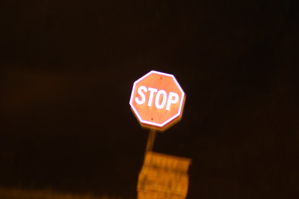 Stop signage during nighttime