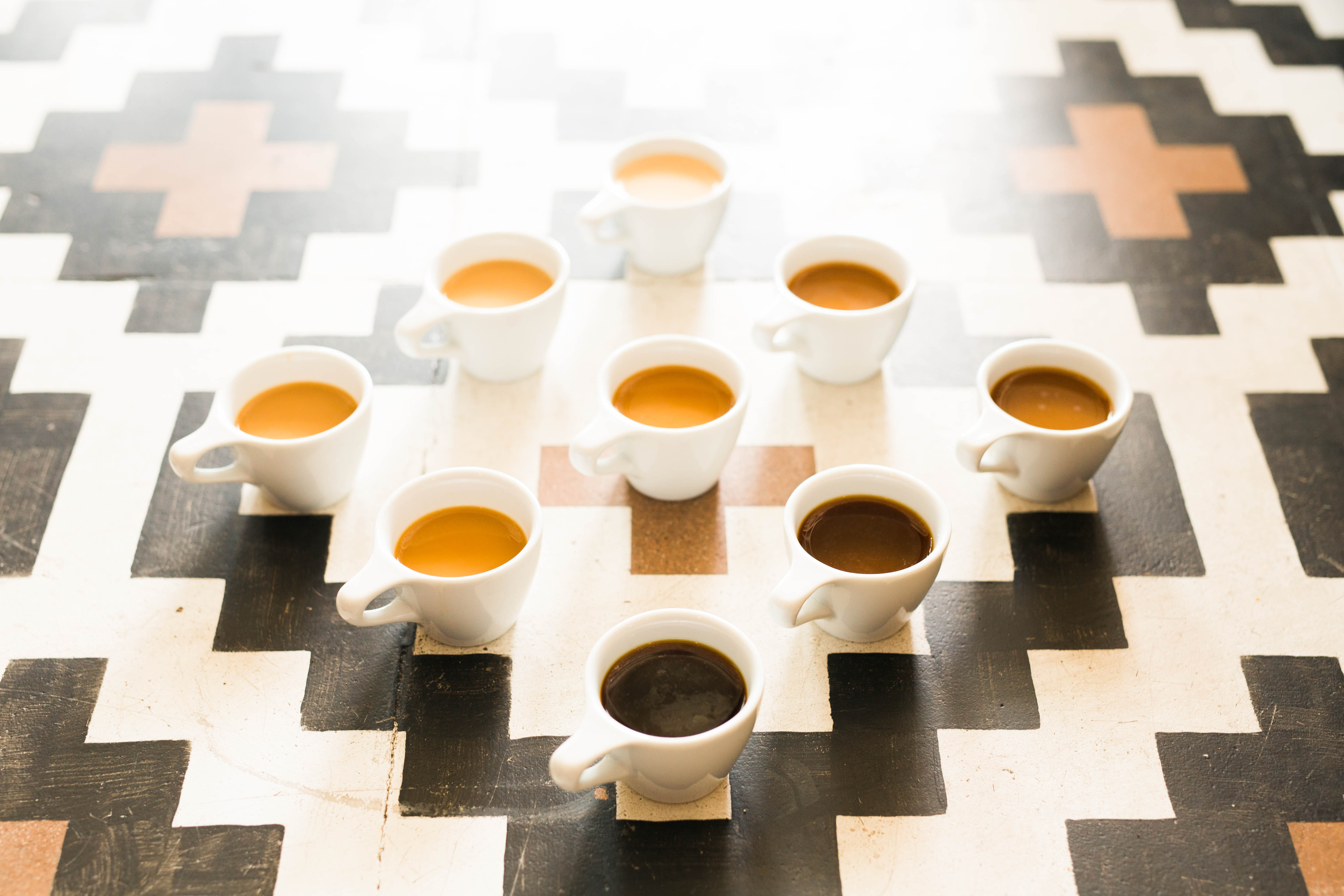 An arrangement of different shades of coffee.
