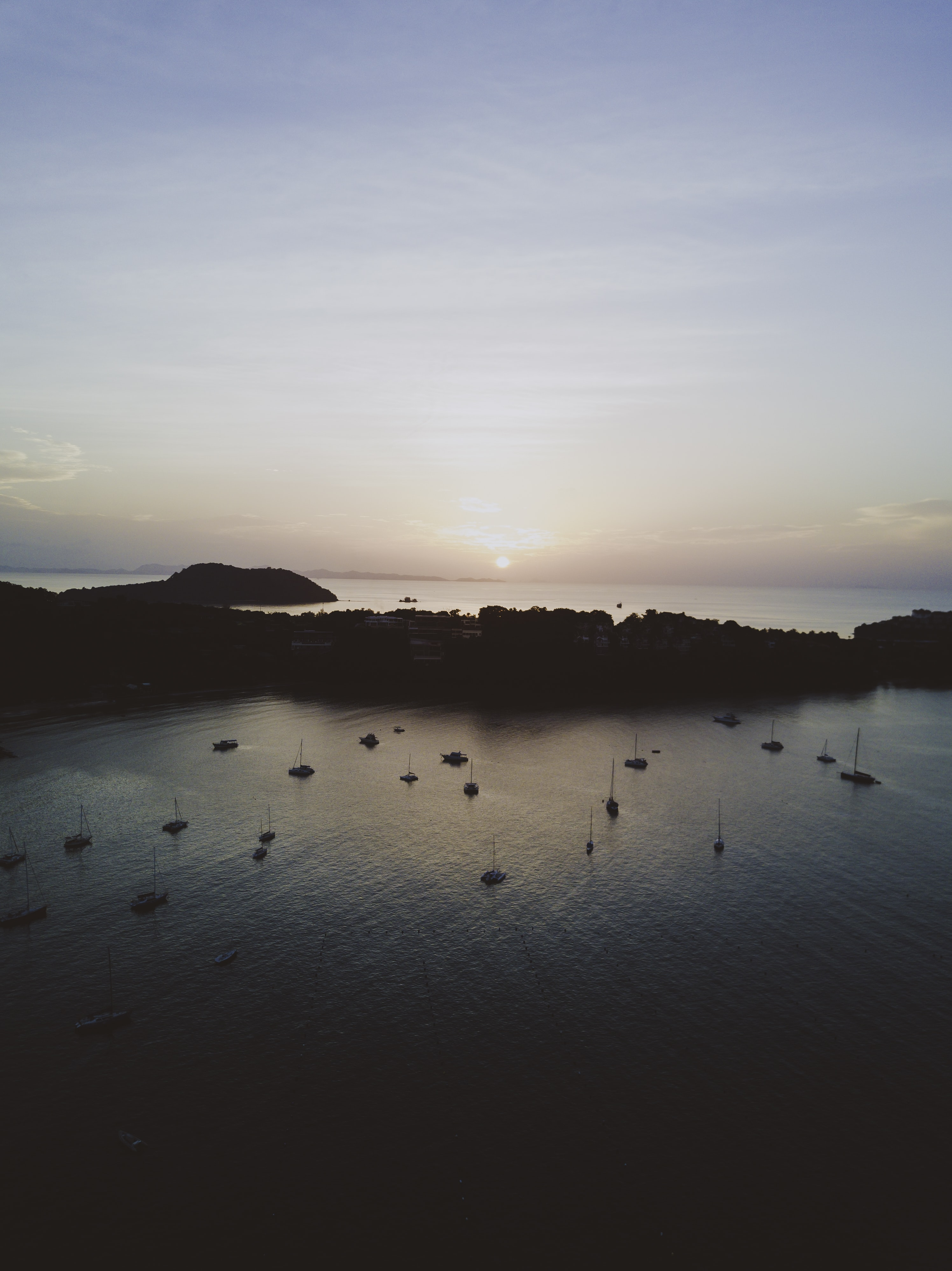 aerial view of land on body of water
