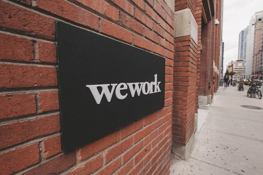 shallow focus of wework wall decor
