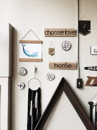 assorted wall decorations on beige wall