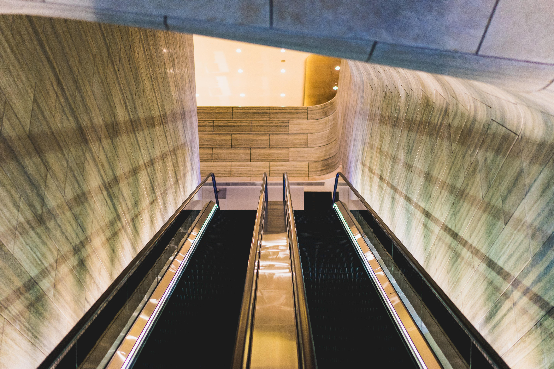 worm eye view of escalator