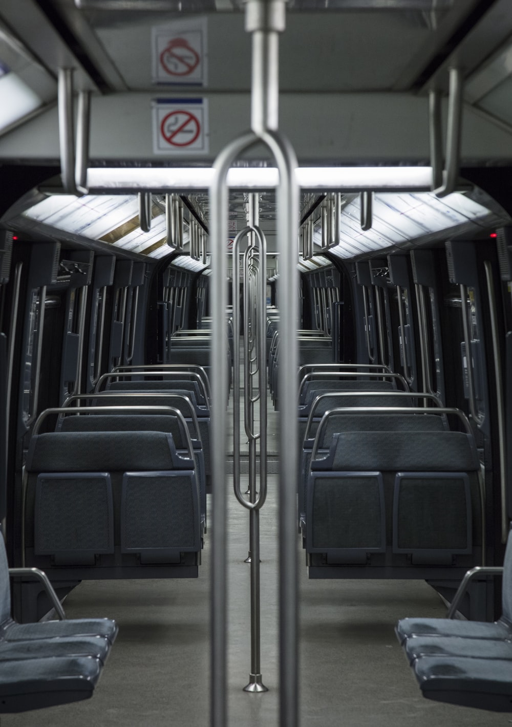 gray and black train interior set