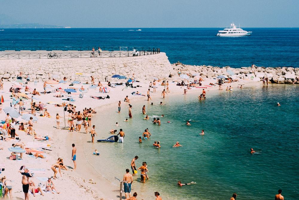 people standing on seashore