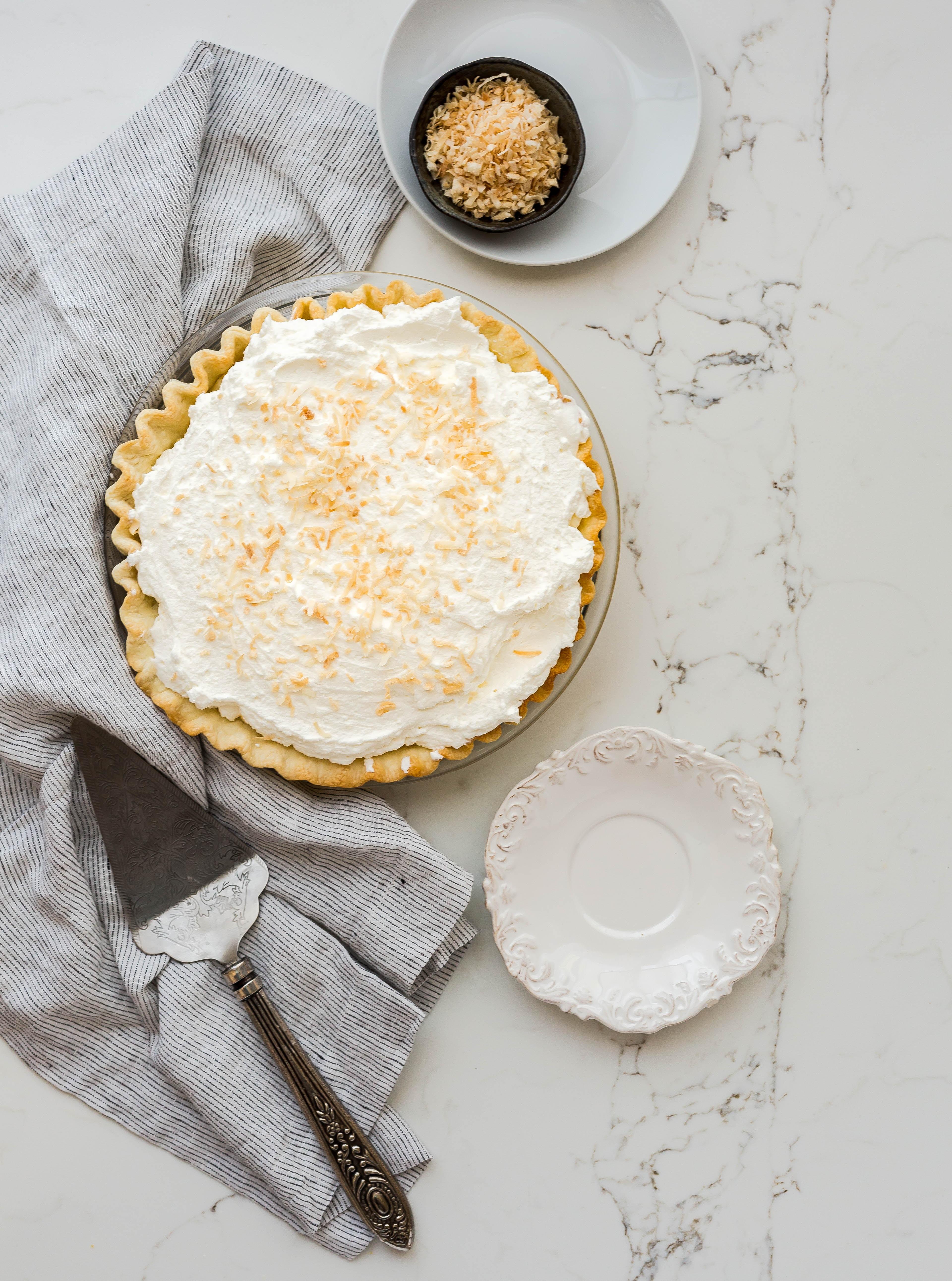 pie cake flat lay