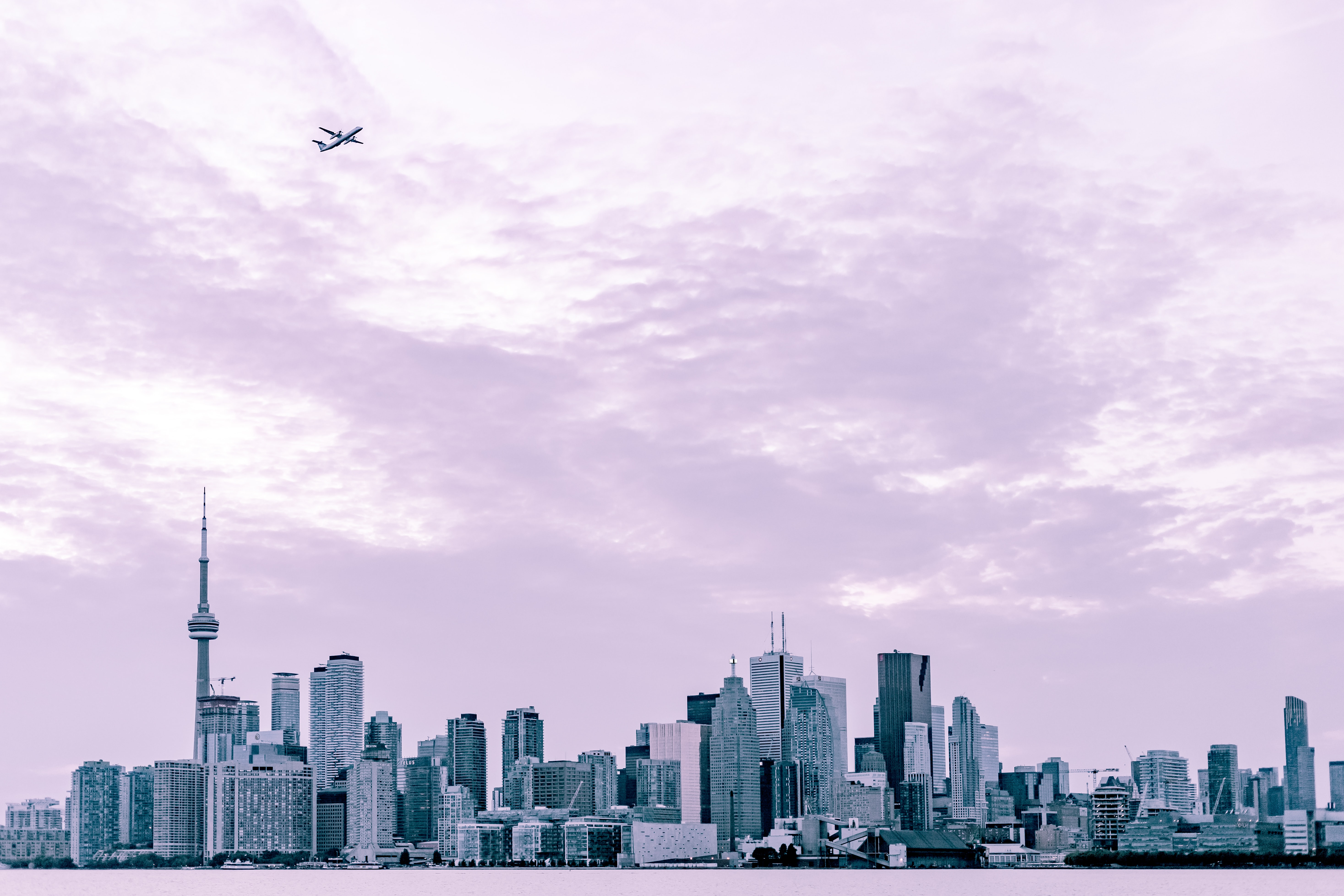 photography of city scape under plane at daytime
