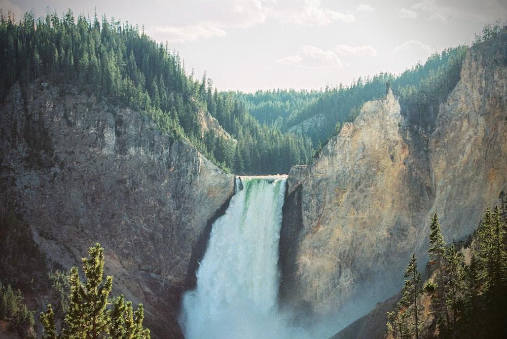 waterfalls on body of mountain