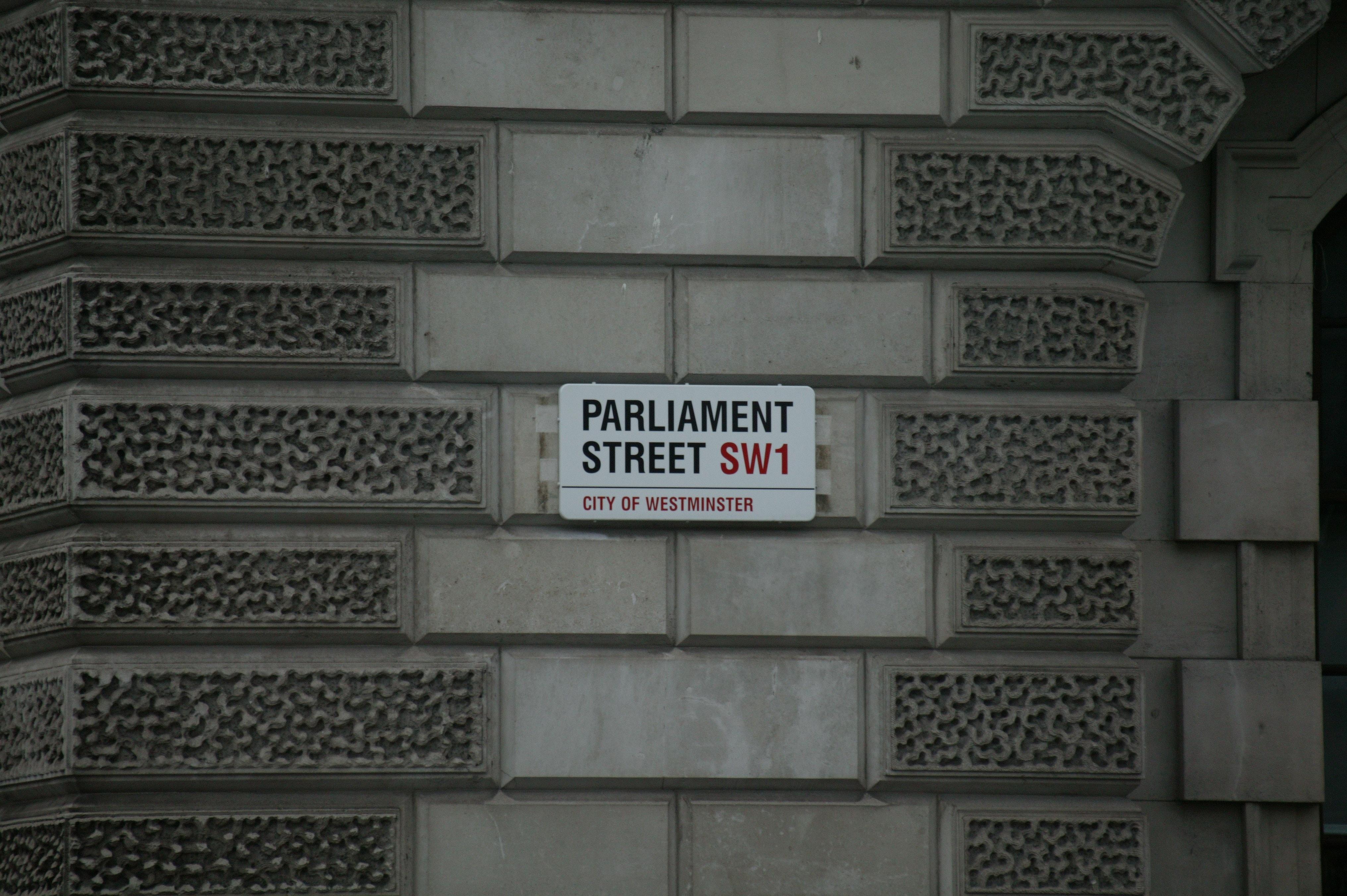Parliament street signage