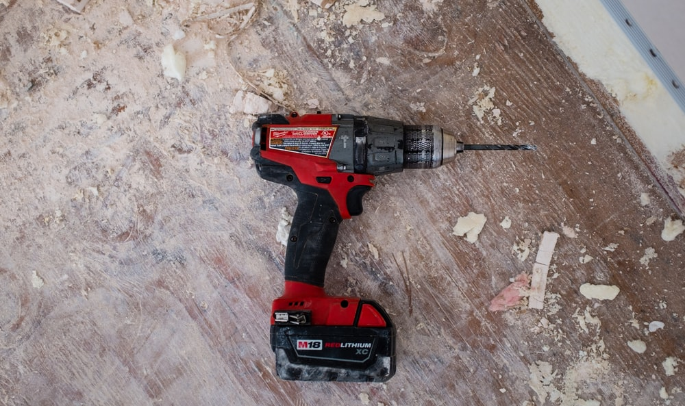 red cordless powerdrill