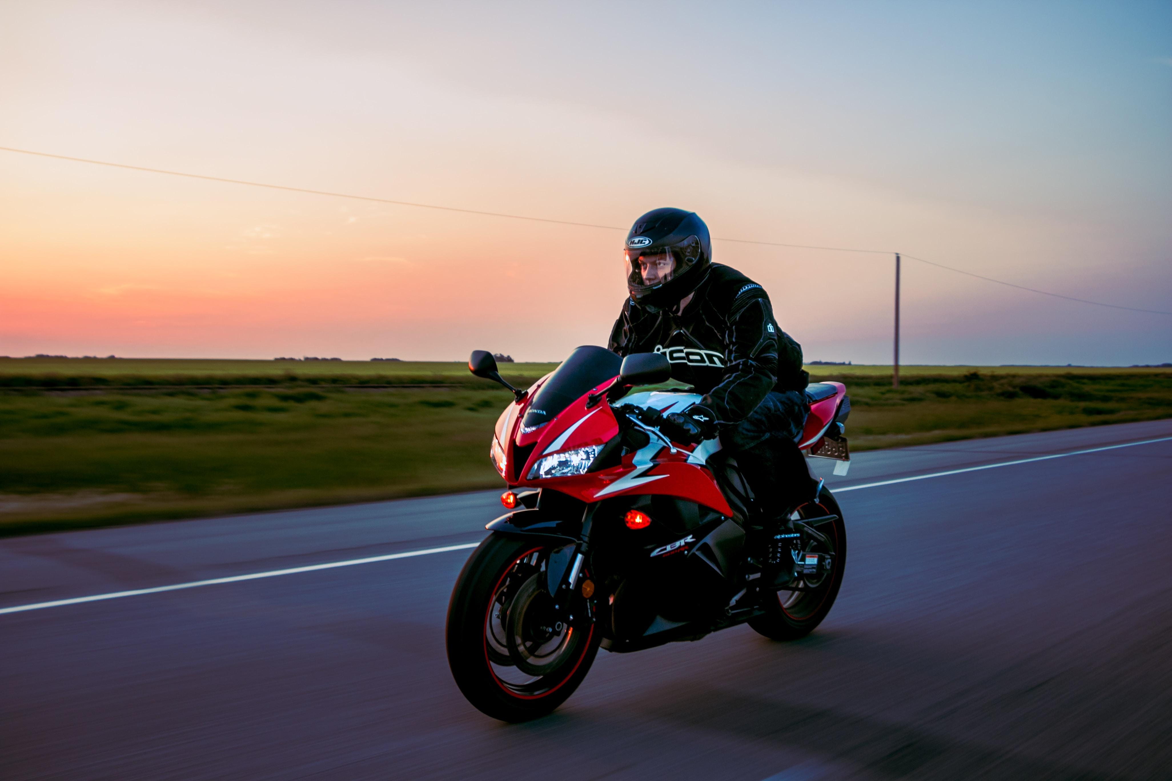 A man riding a sportbike.